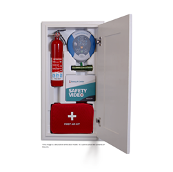 Emerg-A-Center Built-in Emergency Storage Cabinet Emerg-A-Center, Emerg-A-Center in wall medical station, wall mount emergency center, built in defibrillator, defibrillator station